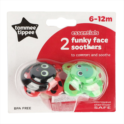 Пустышка Tommee Tippee 2 funky face soothers 6-12мес. лягушка 2 шт.