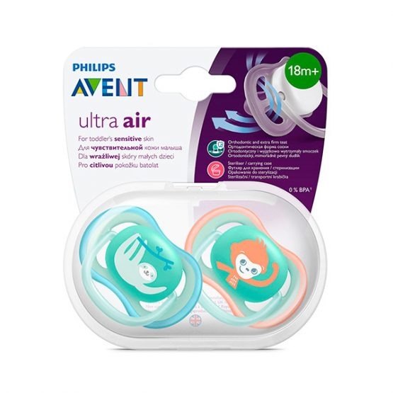 Пустышка Philips Avent Ultra Air с 18 +мес SCF349/21 Ленивец